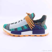 Wholesale human race runner boost running shoes resale online - 2018 R3 Human Race trail Running Shoes Men Women Pharrell Williams Runner Boost Shoes Yellow noble ink core