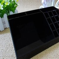Wholesale acrylic beds resale online - Acrylic Black Lipstick Multi Function Bedroom Housekeeping Lipstick Living Room Storage Box Makeup Desktop Receive Boxes Pure Color hl bb