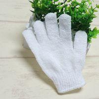 White Nylon Body Cleaning Shower Gloves Exfoliating Bath Glove Five Fingers Bath Bathroom Gloves Home Supplies T2I337