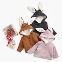 ingrosso giacca coniglio dei ragazzi-Bambini Bambini Ragazze Ragazzi Orecchie da coniglio Con cappuccio Tenere in caldo Giacca con giubbotto imbottito Vestiti da bambina vestiti invernali mantello