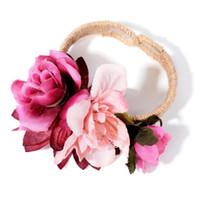 corpete da flor do bracelete venda por atacado-1 Pc Mulheres Artificial Flower Party Wedding Bridesmaid Corsage Pulso Banda Pulseira