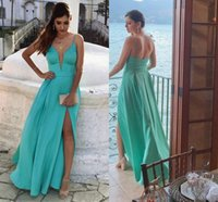 Wholesale aqua backless prom dress resale online - 2018 Aqua Deep V neck Evening Prom Dress With Spaghetti Straps Satin Side slits Backless Cheap Long Red Carpet Beach Dresses