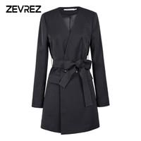 ingrosso blazer plus size women-Zevrez Black Blazer Women Work Office Slim Suit Blazer Giacca da donna manica lunga Business Autunno Coat Plus Size 5XL