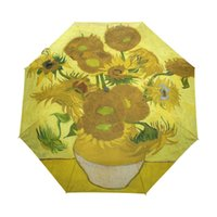 Wholesale oil paint fish for sale - Group buy Famous Drawing Sunflowers Oil Painting Umbrella Foldable Women Rain Umbrella Automatic Windproof Rainy Umbrellas for Child