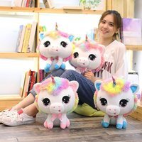 Wholesale unicorn dolls for kids online - 35cm Cute Unicorn Plush Toys Stuffed Animals Colorful Big Head Kawaii Soft Dolls Rainbow Horse For Kids Novelty Items OOA5530