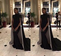 Wholesale Sexy Matures - Classic Mature Black Prom Party Dresses High Neck Elastic Satin With Cape Mermaid Formal Evening Dresses Celebrity Gowns