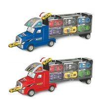 transportista de camiones al por mayor-Transporte Car Carrier Truck Juguete para el bebé Cumpleaños Regalos de Navidad Modelo de Diecast Coches Camión pequeño Coche en el automóvil