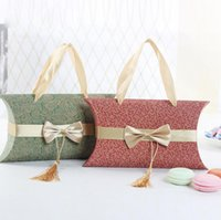 Wholesale Candy Shaped Pillows - New Style Wedding Pillow Shape Candy Box With Bowknot Colorful Gift Box for Wedding Party Favor Decor Wholesales