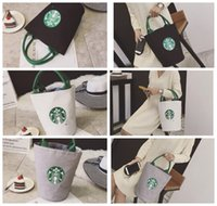 Wholesale Printed Canvas Duffel Bag - Starbucks print Lady Canvas Tote Bag Handbag Barrel Shape Shoulder Shopping Lunch Bag Shopping Bag LJJK958