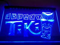 néon tiki bar sinal luz venda por atacado-LM092-b Freaky Tiki Bar Máscara Pub Cerveja Luz Neon Sign.LED sinal de luz