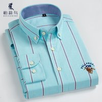9cba85d0f70b ... Button Down Collar Oxford Shirt with Logo Embroidery Smart Casual Slim-fit  Cotton Long Sleeve Striped Dress Shirts D18102301. 40% Off