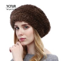 Wholesale genuine mink hat - YCFUR Winter Warm Mink Berets Hats For Women Handmade Knitted Genuine  Caps Hats Female Natural  Beanies Lady
