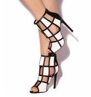 ingrosso alta gabbia-Sandali tacco alto donna geometrici neri bianchi Tacchi a punta scoperti Gabbia con cerniera posteriore Scarpe primavera estate Scarpe Glatiator Boot
