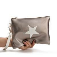 кожа нейлоновая девушка оптовых-2018 Stars Envelope Bag Women's Handbags Girls Leather Clutch Bags Nylon Female Wrist Bags Women's bolsa feminina