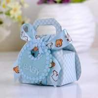 Wholesale bear favor boxes resale online - Bear Shape DIY Paper Wedding Gift Christening Baby Shower Party Favor Boxes Candy Box with Bib Tags Ribbons12pcs