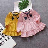 prenses tarzı yaka elbise toptan satış-Cola bebek için bebek elbise sonbahar uzun kollu pamuk kıyafetler toddle rahat prenses elbise tiki tarzı bebek elbiseleri giyim