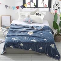 ingrosso biancheria bianca normale-White Cloud Pattern di alta qualità Super Soft Flanella Plain copriletto copriletto genera coperta in pile Manta Coberto per divano letto