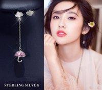 kristal şemsiye toptan satış-Ücretsiz kargo 925 Ayar Gümüş saplama küpe Bling Bling Kristal Küpe Güzel Şemsiye Moda Takı güzel hediye Gümüş Küpe