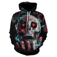 Wholesale Skull Head Sweater - 2018 new casual men women 3D hand smoke skull head Printed Color Large Size Hoodie Sweatshirt hip hop tops female hoody Couple sweater
