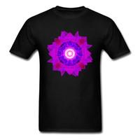 t-shirts musterbild großhandel-Shine Mandala Muster Bild Männer T Shirts Herbst 100% Baumwolle Tees Für Männer Benutzerdefinierte Mode T-Shirts Einfachen T-shirt Auf Verkauf