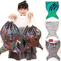 Wholesale skull shaped glitter online - Sequins Mermaid Tail Backpack Drawstring Bags for women girls Paillette Sports Beach Travel Shoulder Bag Kids Glitter Fish Shape Totes