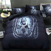 ingrosso skull bedding-Set biancheria da letto 3 pezzi, colore nero, Halloween; teschio e lupi 1 * copripiumino + 2 * federe, completo; regina; re; taglia EU-king