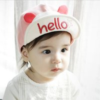 Wholesale hello girl hat for sale - Group buy 2018 Cute Summer Newborn Baby Hat GirlS BoyS Hello Baseball Cap Infant Cotton Unisex Toddlers Sun Hat Cartoon Animal Style pink blue Yellow