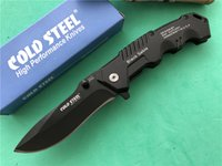 Wholesale cold steel hy217 resale online - Cold Steel HY217 Folding blade knife Cr17 steel blade Plain Manual opening EDC pocket knife Black sable FBA Tactical knives