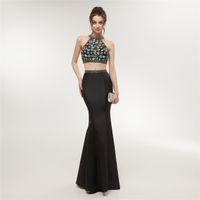 Wholesale pattern for black evening dress resale online – 2 Pieces Mermaid Evening Dress Long Black Prom Dresses Robe De Soiree Formal Party Dress For Graduation E004