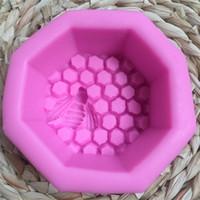 ingrosso muffa di rosa del cioccolato 3d-Honeycomb Honey Soap Stampo 3D Stampo per dolci in silicone Resistente al calore DIY Cioccolato Utensile da forno per pasticceria Rosa 6 5ky C R
