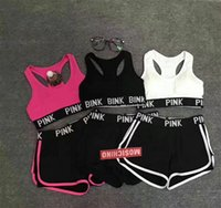 Wholesale yoga pants sports bra online - Love Pink sports Sets Sport Bra Gym Fitness Short Pants PINK Letter Underwear Exercise Vest Running Yoga Shorts Trousers Push Up Bras Set