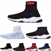 Wholesale slip canvas sneakers for men for sale - Group buy Luxury Designer fashion running shoes for women men Triple Black Flat Fashion Socks Boot mens Sneaker Speed Trainer zapato