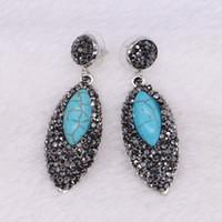 8c980372121a 5 pares de perlas mexicanas estilo negro con gota de piedra azul cuelgan  aretes gancho gemas de joyería para mujeres