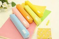 Wholesale random schools online - Wave point pen bag student cute pencil case office stationery canvas pencil bag gift random color