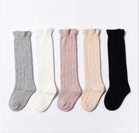 bebek pamuğu diz yüksek çorap toptan satış-Bebek Çocuk Tüp Ruffled Çorap Kız Erkek Üniforma Diz Yüksek Çorap Bebekler Toddlers Pamuk Saf Renk Çorap 0-3 T NC134