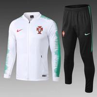 tren c al por mayor-Tailandia Calidad nuevo18 19 equipo nacional de ropa deportiva C Ronaldo chaqueta traje 2018 2019 hogar chándales traje de entrenamiento de fútbol