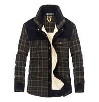 ropa de abrigo de lana para hombre al por mayor-Chaquetas gruesas para hombre Camisas a cuadros delgadas Bajar el cuello Fleeced Prendas de abrigo Camisa de manga larga de 5 colores para primavera invierno