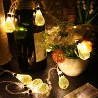 dekoratif sarkıt farları toptan satış-LED Festivali Renkli Işıklar Merry Christmas Dekoratif Fenerler Düğün Düzenleme Metal Hollow Out Lamba Dize Kolye 12 hx Ww