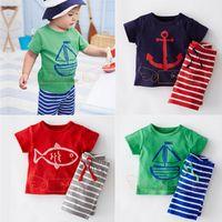 ingrosso pantalone di ancoraggio per bambini-Vestiti di estate dei capretti di DT0233 vestiti dell'ancoraggio della barca I bambini del cotone a strisce hanno vestito i vestiti della maglietta dei pantaloni 2PCS dei vestiti