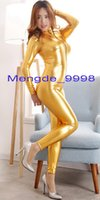 Wholesale sexy woman metallic costumes for sale - Group buy Sexy Gold Shiny Metallic Suit Catsuit Costumes Sexy Women Body Suit Costumes Sexy Women Bodysuit Costumes With Front Long Zipper M344