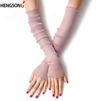 длинные перчатки оптовых-Women summer Thin mesh resistant thin sleeved female silk gloves sleeve driving sun protection women long arm glove 844781