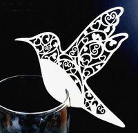 doğum günü partisi isimleri toptan satış-Fincan Kağıt Kartları Uçan Kuşlar Bardaklar Cam Şarap Düğün Adı Kartları Doğum Günü Partisi Dekorasyon DIY Yeri Kart