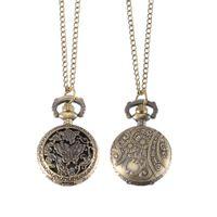 reloj de cuarzo mariposa al por mayor-Reloj de bolsillo Vintage Bronce Color Reloj de cuarzo Cool Chain Hueco de mariposa Árboles Relojes LXH