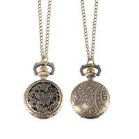 bronz kelebekler toptan satış-Vintage Cep Saati Bronz Renk Kuvars İzle Serin Zincir Hollow Kelebek Ağaçlar Saatler LXH