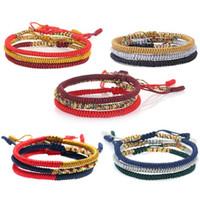 armband tibet buddhismus großhandel-JLN Multi-Farben Tibetischen Buddhistischen Armband Handgemachte Knoten Baumwolle Seil Glück Buddhismus Tibetischen Charme Armband Für Mann Und Frau