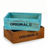 Wholesale home storage containers - Wooden Mini Storage Containers Box For Home Organization Vintage Style Flower Pot Succulent Plants Planters Pots Multifunction 5hx BZ