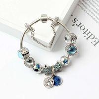 brazaletes de gato al por mayor-Nuevo Charm Pandor Bracelets Blue Cats Eyes Beads Bracelet 925 Pulseras de plata Bright Stars Moon Bangle Diy Jewelry con logotipo original