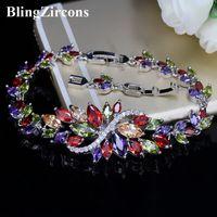 Wholesale cute big bracelets resale online - BlingZircons Sterling Silver Summer Cute Crystal Jewelry Big Flower Cluster Colorful CZ Stone Bracelet For Women B055