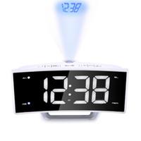 gran pantalla led reloj al por mayor-Arco Radio Proyección Despertador Escritorio Gran LED Espejo Pantalla Electrónica Digital Relojes de mesa luminosos Función de carga USB Venta caliente Reloj