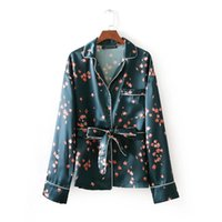 Wholesale woman elegant pajamas - 2018 euro women pajamas style printing sashes blouse elegant retro casual slim long sleeve shirt femininas blusas tops LS2052
